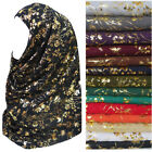Metallic Gold Glitters Floral Pattern Muslim Hijab Scarf Long Shawl Head Wrap