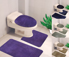 BANDED BATHROOM BATH MAT SET ABSORBENT NON-SLIP RUBBER BACKING RUGS 3PC SET 10