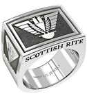 Men's Heavy 925 Sterling Silver Freemason Scottish Rite Ring Band, Size 8 to 13