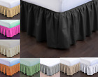 NEW MODERN SOLID DUST RUFFLE SPLIT CORNERS 1PC BED BEDDING PLEATED SKIRT FULL image
