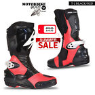 Motorbike Leather Spyke Totem Sports Race Bike Protection Boot - Black/Red