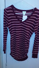 Motherhood Maternity long sleeved Sweater Striped Side Ruching Sm VNeck New