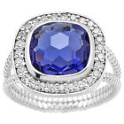 Faceted Tanzanite & Cz 925 Sterling Silver Ring Jewelry DGR1072_C