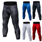 Men's Compression Tights 3/4 Length Cropped Running Gym Pants Moisture Wicking