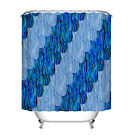 Blue Line Waves Fabric Shower Curtain Set 180CM Polyester BAthroom Accessories