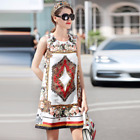 18 Spring Occident popular positioning printing fashion bead jacquard vest dress