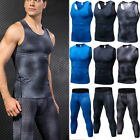 Mens Compression 3/4 Tights Running Jogging Gym Workout Dri fit Spandex Tank Top