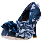 Irregular Choice Peach Melba Womens Blue Synthetic & Fabric Casual Shoes Slip-on