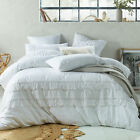 NEW White Boho Tassels Linen Blend Quilt Cover Set Accessorize Quilt Covers