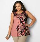 AVENUE Side Floral Swing Tank Womens Plus Size