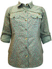 NEW EVANS LADIES KHAKI GREEN RED FLORAL SUMMER BLOUSE SHIRT TOP UK SIZE 24 & 28
