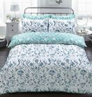 Painted Damask Poly Cotton Reversible Duvet Quilt Cover Bedding Set Pillowcases