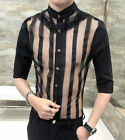 Men's Unique See Through Striped Casual Tops Sexy Half Sleeve Party Pub Shirt
