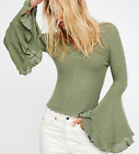 NEW FREE PEOPLE Intimately  Women Soo Dramatic Long  Sleeve  Top Green