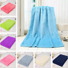 Baby Children Solid Color Soft Flannel Throw Blanket Warm Coral Plaid Towels image