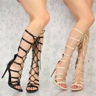 Strappy Lace Up Mid Calf Knee High Gladiator Stiletto Heel Pumps Sandals G31