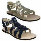 LONI MOON GIRLS CLARKS JUNIOR OPEN TOE BUCKLE CLASSIC FLAT GLADIATOR SANDALS