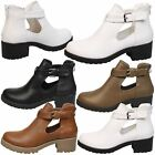 WOMENS ANKLE BOOTS LADIES SHOES BUCKLE BIKER STRAP CUT OUT BLOCK HEEL SIZE NEW