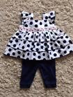 BABY GIRLS STUNNING NAVY BLUE POLKA DOT 2 PIECE DRESS & LEGGINGS SET 0-3 3-6 6-9