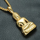 Men's Fashion Jewelry Gold Silver Buddha  Pendant Long Chain Necklace for Gift