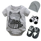 Newborn baby boys daily party bodysuit+hat+socks+shoes baby playsuit shower gift