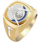 Customizable Men's Two Tone 10k or 14k Gold Past Master Freemason Masonic Ring