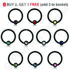 BLACK Captive Bead Ring Ball Closure BCR Hoop Ear Nose Nipple Steel CRYSTAL Ball