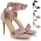 Womens High Heel Sandals Stiletto Frill Ankle Strap Ladies Peep Toe Party Shoes