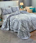 cheap king size quilt covers - GRAY BLACK KING SIZE COMO DAMASK PATTERN QUILT BLANKET PILLOW SHAM BED SET HOME