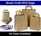 Medium Brown Kraft Paper SOS Carrier Bags Flat Handles Takeaway Gifts Food Safe