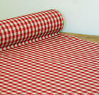 Oilcloth Table Linen Fabric Gustavian Red Gingham 10Mm Check Machine Washable