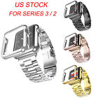 US Slim Gold Plated Case Cover 316L Metal Band Strap For Apple Watch Series 3 2 image