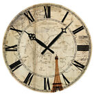 """15"""" Large Vintage Wooden Wall Clock Shabby Chic Rustic Home Decor Antique Style"""