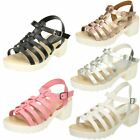 Girls Spot On Heeled Retro Look Sandals