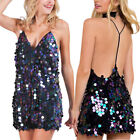 Sexy Trendy Cute Women Sequin Plunging V Neck Bodycon Halter Clubwear Mini Dress