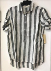 New 4Our Dreamers Linen Black White Striped Button Front Blouse Sz XS S M  $98
