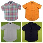 Ralph Lauren Men's Linen Button Down Shirt Short Sleeve Pony Logo Solid Plaid