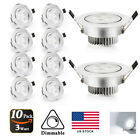 3W Dimmable LED Ceiling Light Cool White (5500-6500K) Recessed for Home Office