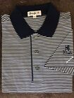 New NWT Pringle Mens Navy Blue , Wht Polo Style Golf Shirt w Pringle Sleeve Logo