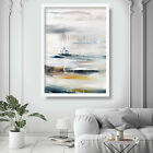 Abstract Painting Art Print White Blue Yellow Wall Poster 1 Contemporary Decor