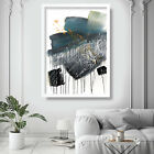 Abstract Painting Art Print Teal Texture Wall Poster Contemporary Decor