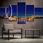 The Thames London At Night 5 Panel Canvas Print Wall Art