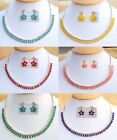 Designer Sleek CZ Necklace Earrings Chain Gold Plated Indian Fashion Jewelry Set