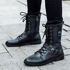 Mens Black PU Leather Martin Boots Lace Up Zip High Shoes Military Army Boots