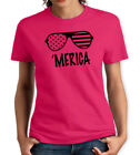 MERICA PINK & BLACK WOMENS T SHIRT TRENDING FUNNY AMERICA FLAG PATRIOTIC GLASSES