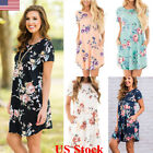 US Ladies Women Short Sleeve Floral Printed Tops T Shirt Dress Blouse NEW Casual