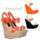 WOMENS 70's STYLE RETRO SQUARE BUCKLED OPEN TOE PLATFORM WEDGES SUMMER SANDALS
