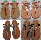 Michael Kors Gold, Silver Navy or Black MK Logo Jelly Cork Flip Flops Sandals