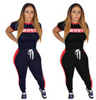 Women short sleeves letter print casual sports bodycon club long jumpsuit 2pc