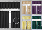 "Внешний вид - NEW ROD POCKET SILKY WINDOW DRESSING SMALL ROOM CURTAIN PANELS 3PC SET 36""L (K3)"